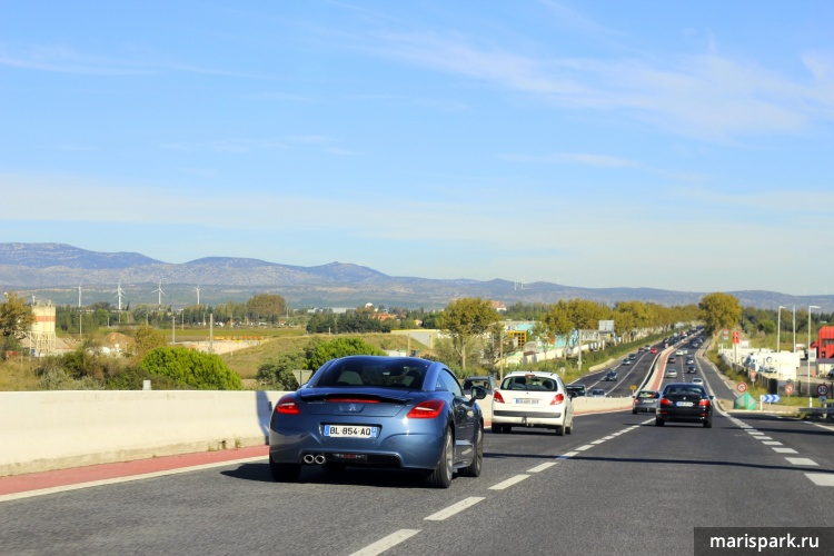 On the way to Nice from Barcelona by car